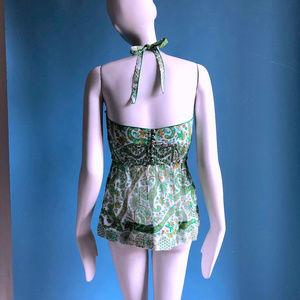 Massimo Dutti Tops - Summer Cotton Green Paisley Voile Halter Top sz XS